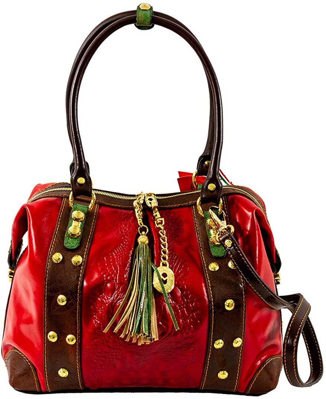 Marino Orlandi Italian Womens Large Handbag Italian Designer Purse Genuine Leather Top Handle Satchel Crossbody Bag in Red Alligator Embossed Design with Tassel