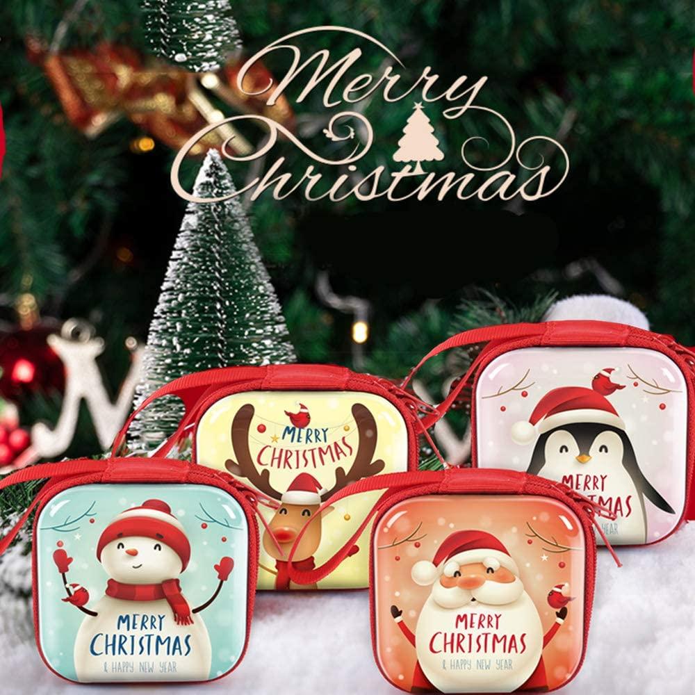 4 Pcs Christmas Coin Bag Purse Pocket Box,Organizer Xmas Gifts Mini Wallet Bag for Kids Christmas Tree Hanging Decorations (Red) (4 Square Box)