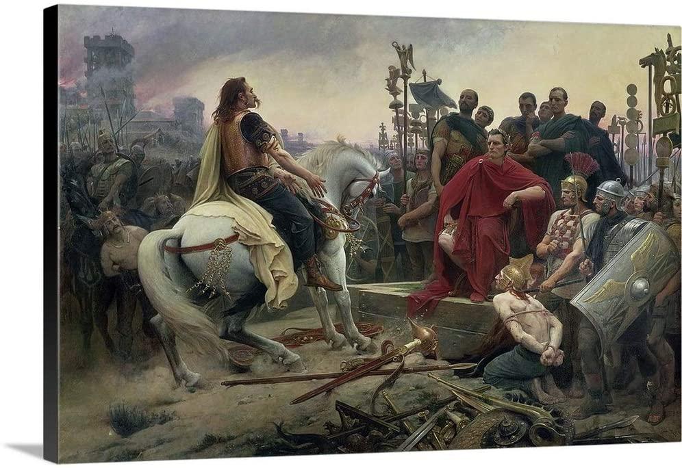 Vercingetorix Throws Down his arms at The feet of Julius Caesar, 1899 Canvas Wall Art Print, 24.