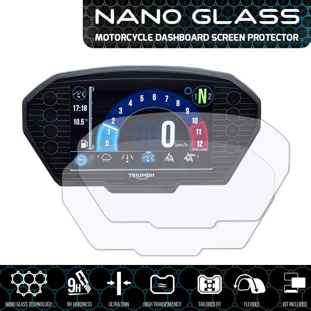 Speedo Angels SATR1NG2 Nano Glass Screen Protector for Triumph Tiger 800/1200 Explorer (2018+), 2 x Ultra Clear