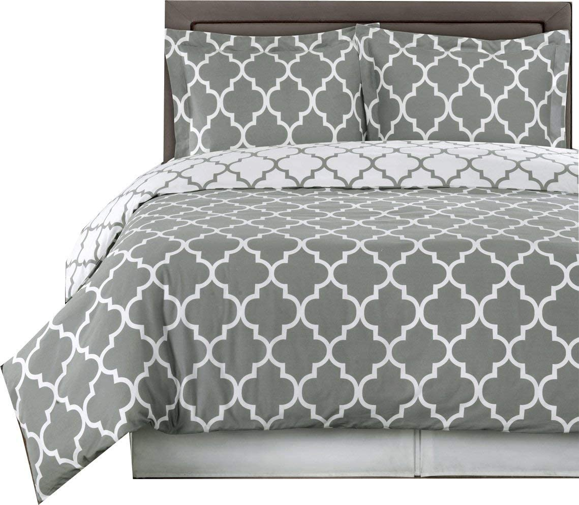 Royal Hotel Gray and White Meridian King/Cal-King 3-Piece Duvet-Cover-Set, 100% Cotton 300 TC
