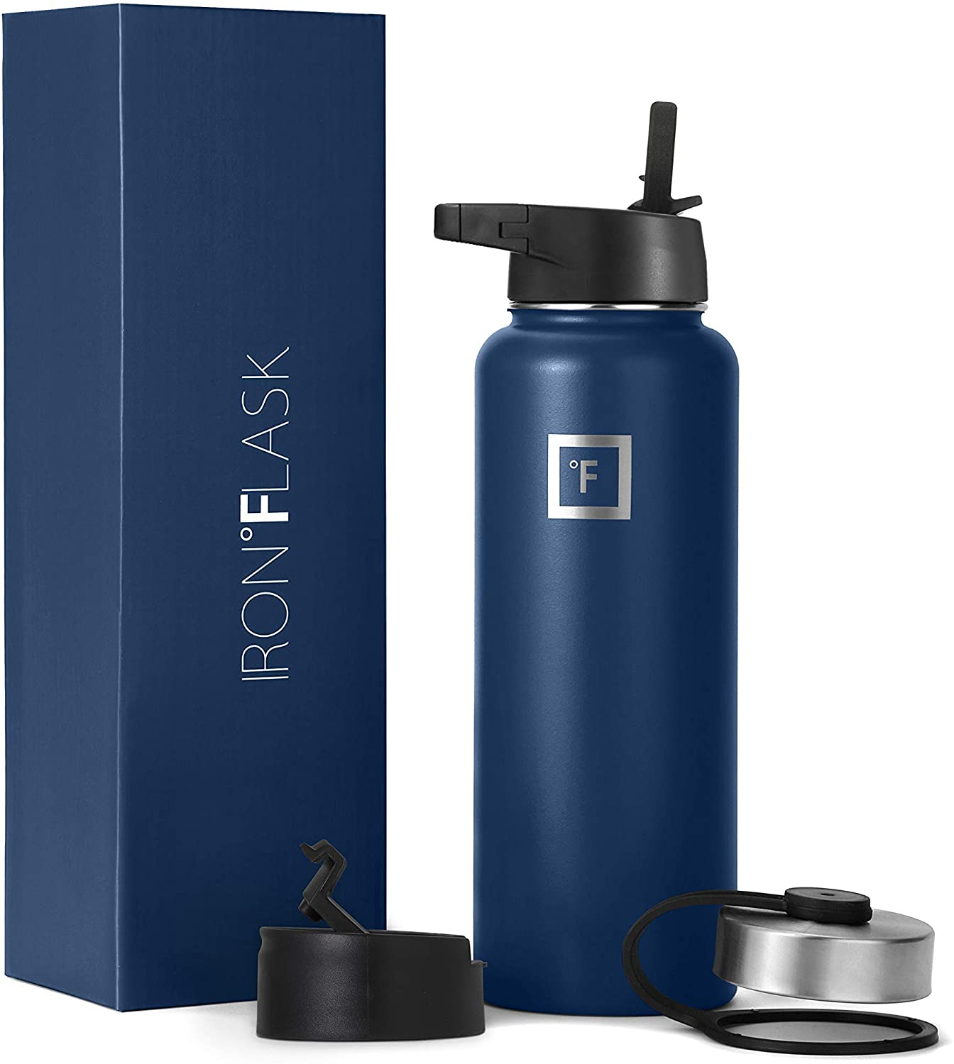Iron Flask Sports Water Bottle - 14oz,18oz,22oz,32oz,40oz,64oz,3 Lids (Straw Lid),Vacuum Insulated Stainless Steel, Modern Double Walled, Simple Thermo Mug, Hydro Metal Canteen (40 Oz, Twilight Blue)