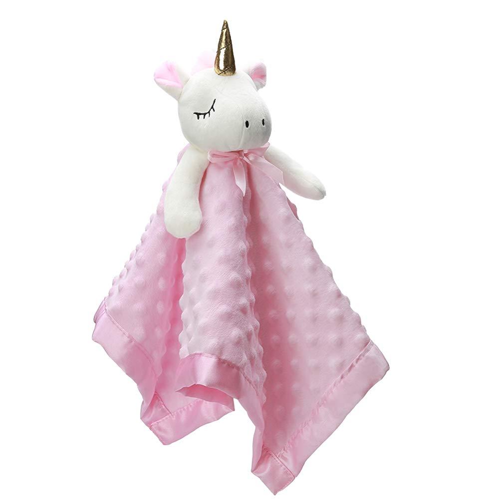 Pro Goleem Unicorn Loveys for Babies Soft Plush Security Blanket for Girls Stuffed Animal Blanket Fleece Lovies for Babies Pink Snuggle Blanket Gift for Newborn, Infant and Toddler