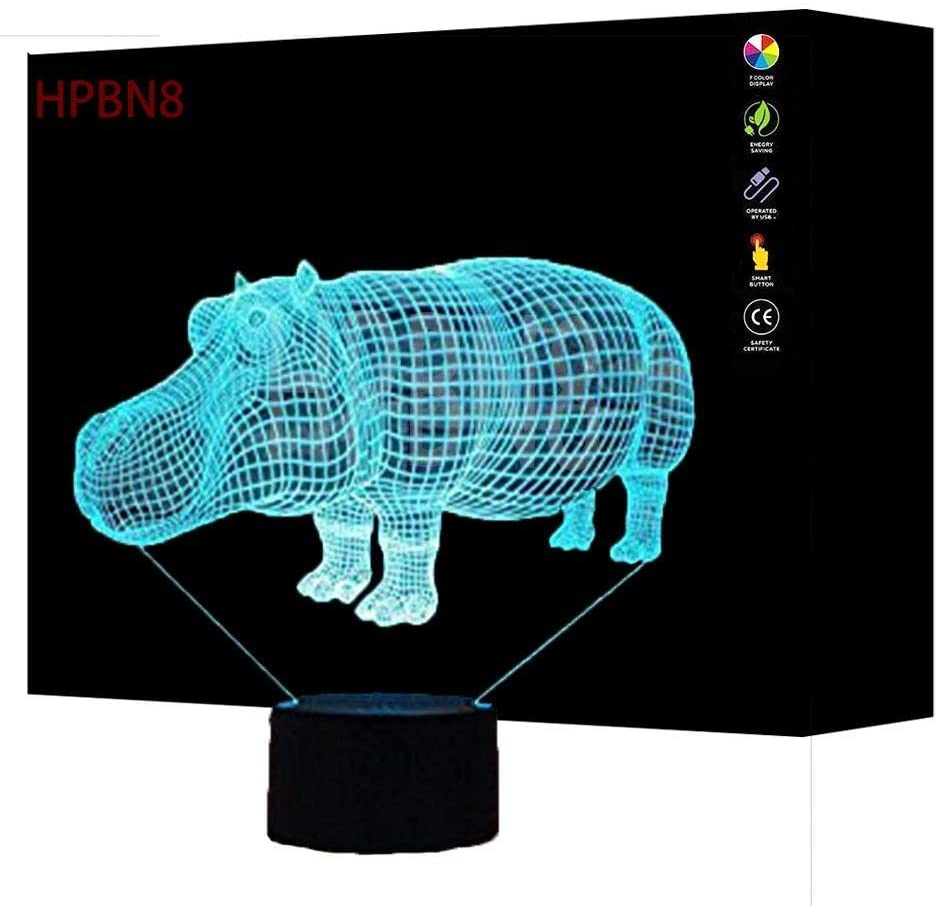 3D Hippo Optical Illusion Night Light 7 Color Change USB Touch Button LED Desk Table Light Lamp