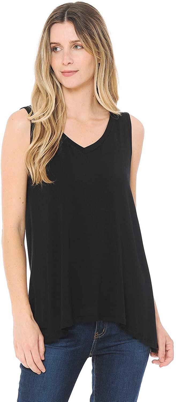 BIVE Women's Casual Summer Sleeveless V-Neck Tunic Blouse Tank Tops