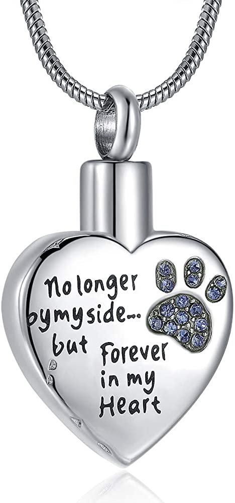 Eternal M. Cremation Jewelry for Ashes for Dog Cat Waterproof Memorial Urn Pendant Necklace No Longer by My Side Forever in My Heart