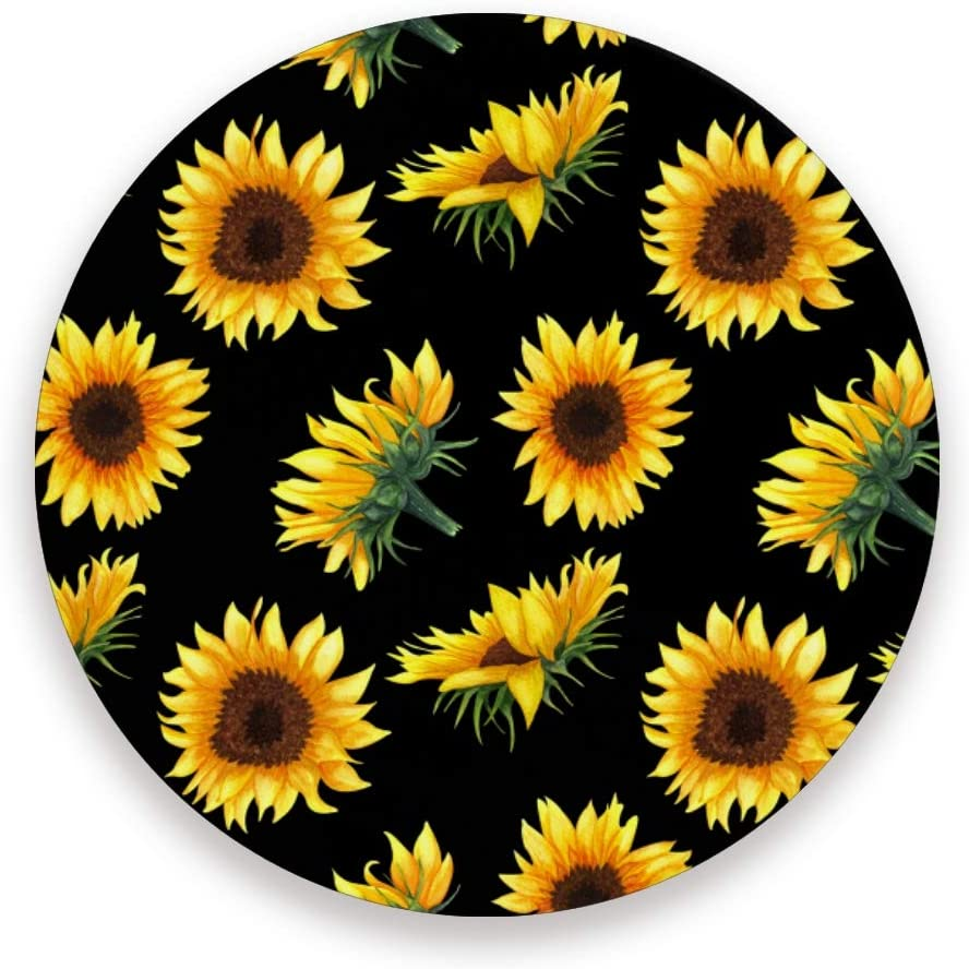 Qilmy Sunflower Ceramic Coasters for Drinks, Set of 2 Absorbent Round Stone Coasters with Cork Base