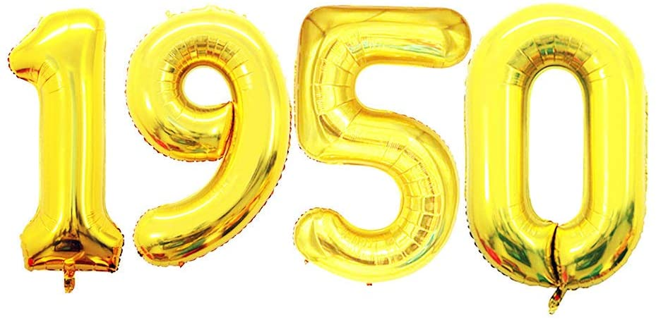 GOER 42 Inch Gold Number Balloons 1950,Helium Balloons for 70th Anniversary Decorations and Birthday Gifts