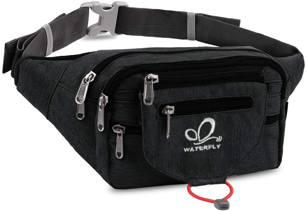 WATERFLY Fanny Pack for Men Women Large Waist Pack with Multi Pockets for Running Hiking Camping Workout Traveling Cycling