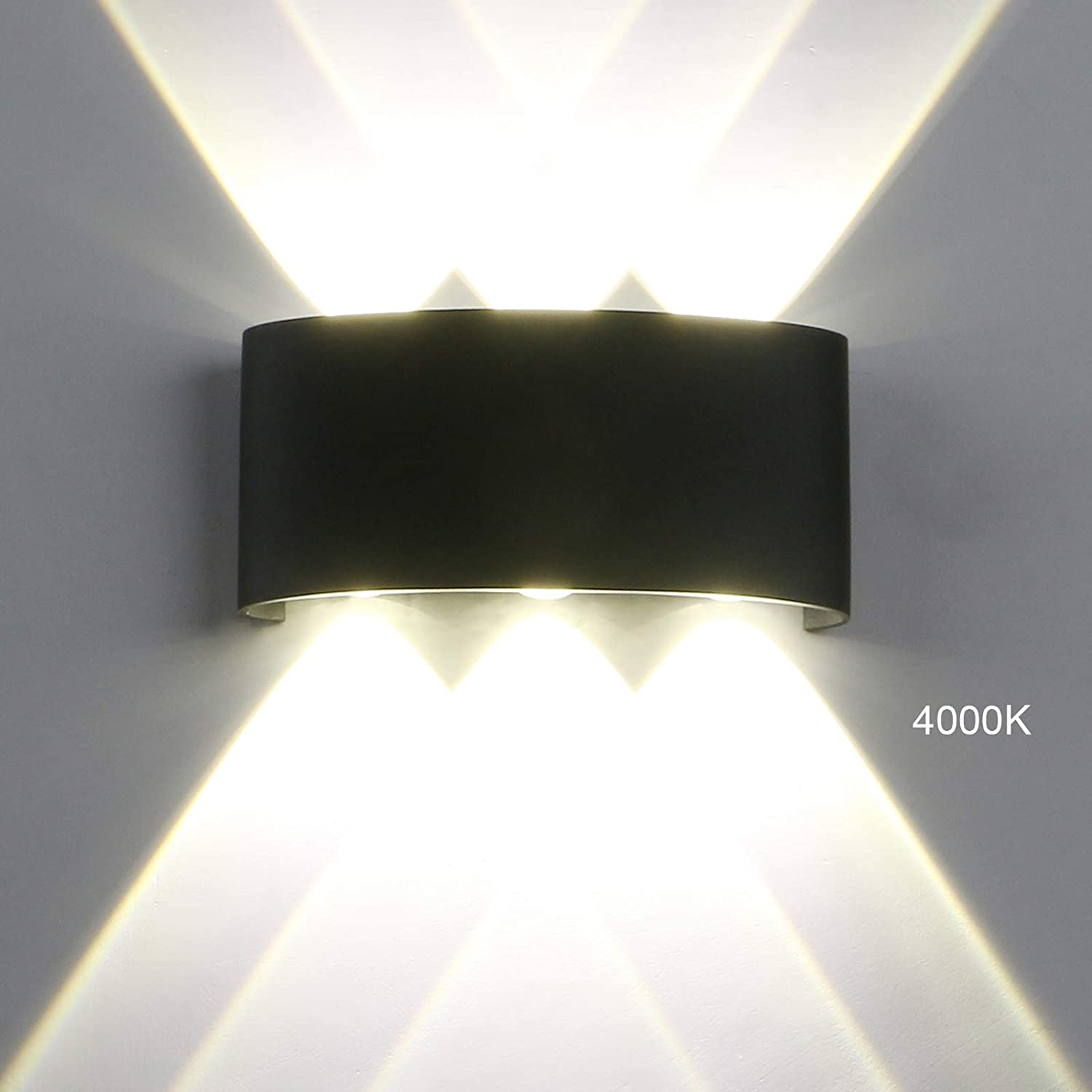 Pathson Modern Outdoor Wall Light, 6 LEDs Hallway Porch Wall Sconce, 3.2 Inches Base Up Down Wall Lamp Indoor Matte Black Wall Mount Light Fixture 4000K White Light(Style 2)