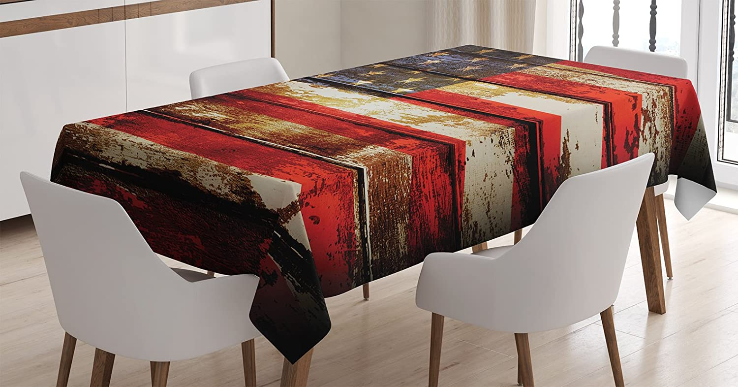 Ambesonne American Flag Tablecloth, Us Over Old Rusty Tones Weathered Vintage Social Plank Artwork, Rectangular Table Cover for Dining Room Kitchen Decor, 60