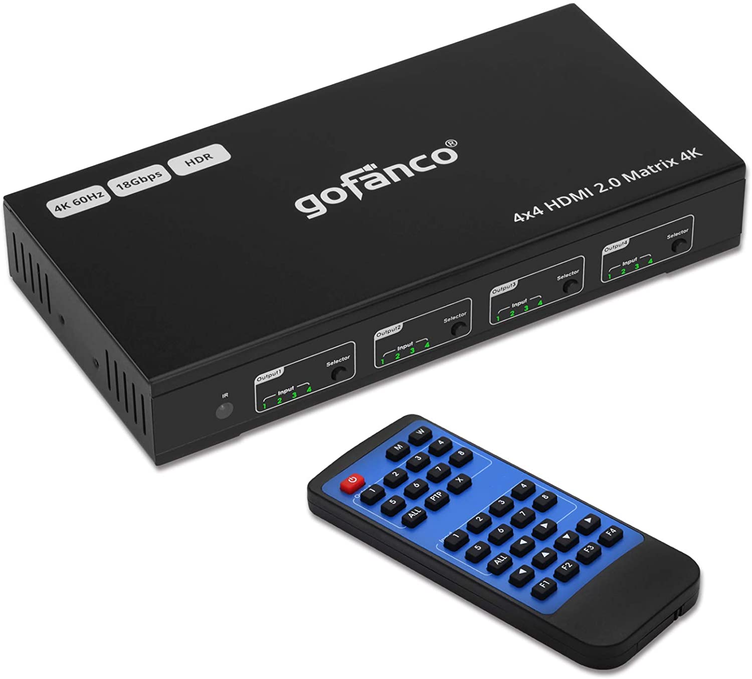 gofanco 4x4 HDMI 2.0 Matrix Switcher W/IR Remote & Web GUI Control - (4K 60Hz YUV 4:4:4, HDR) - HDMI 2.0, HDCP 2.2/1.4, SPDIF Audio Output Extractor, 18Gbps, EDID, RS-232, 4 In 4 Out Video