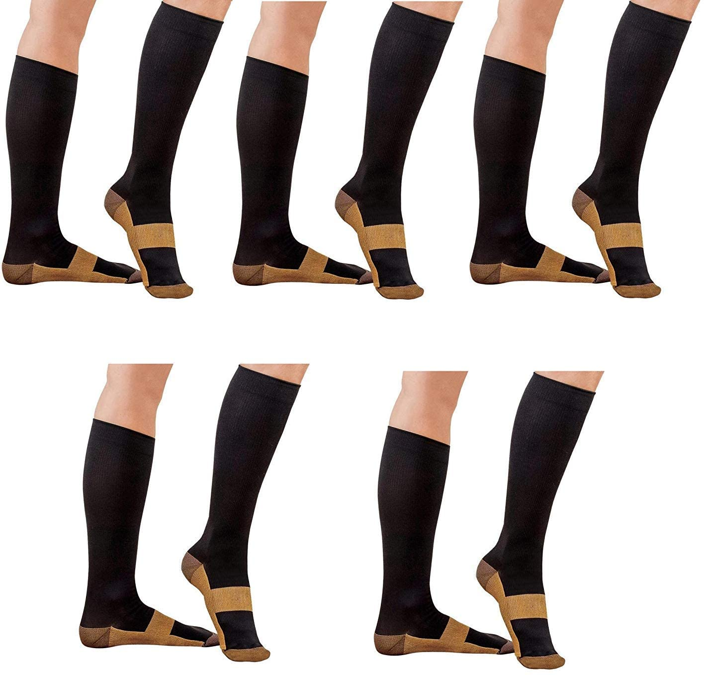 ASRocky Graduated Compression Copper Socks Anti-Fatigue Calf High Below Knee Mens Womens Foot Ankle Heel Support Pain Relief Sport Medical Stockings Reduce Swelling (5Pr, XXL, Blk/Cu)