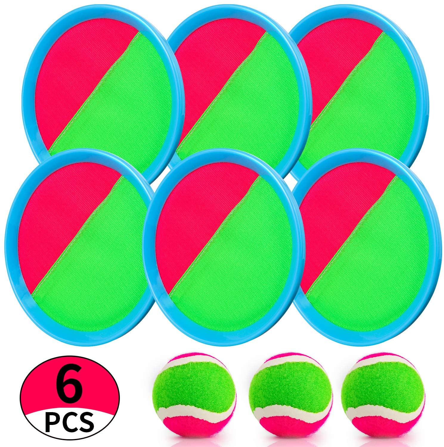 Aywewii Velcro Ball and Catch Game, Toss and Catch Ball Set Paddle Ball Game Set with 6 Paddles 3 Balls, Perfect Outdoor Games Toys Gift for Kids/Adults