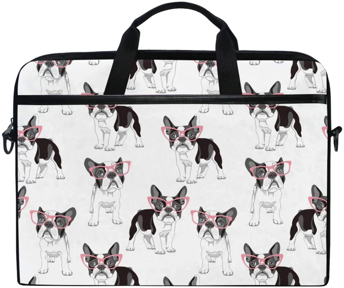 Kaariok Dog Animal French Bulldog Glasses Laptop Shoulder Bag 13-14.5 Inch Sleeve Case Messenger Tablet Carring Briefcase with Handle Strap for Men Women Boys Girls