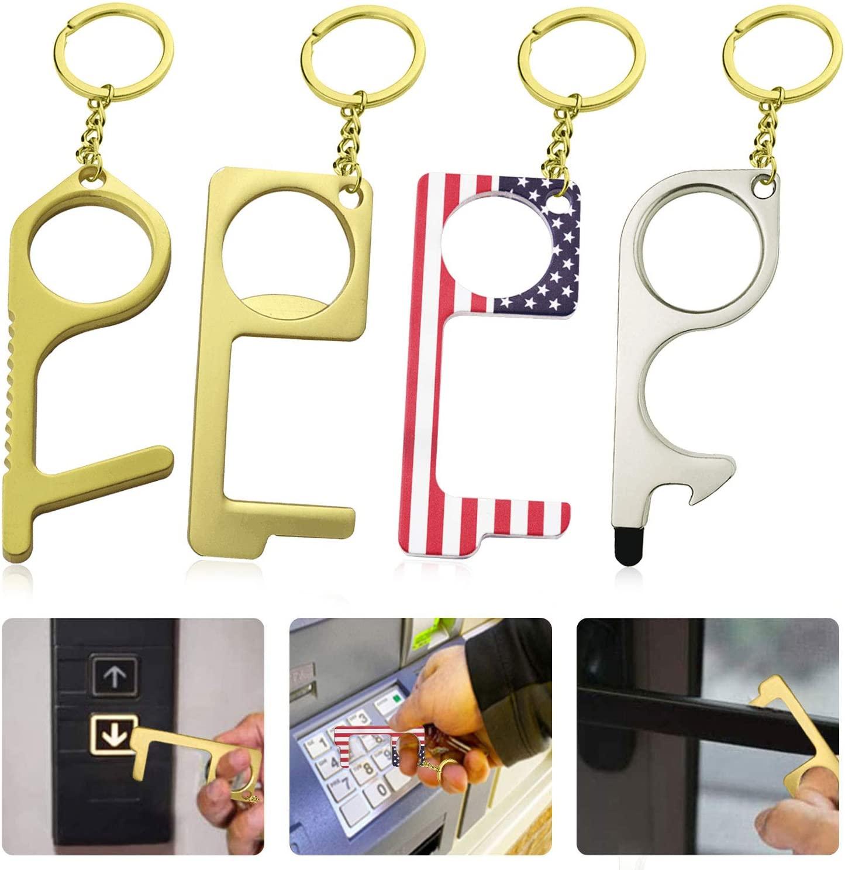 4 Pieces, No-Touch Door Opening Tool, EDC Door Opener, Hands-Free Door Push Button Pushing Tool, Used for Outdoor Home.