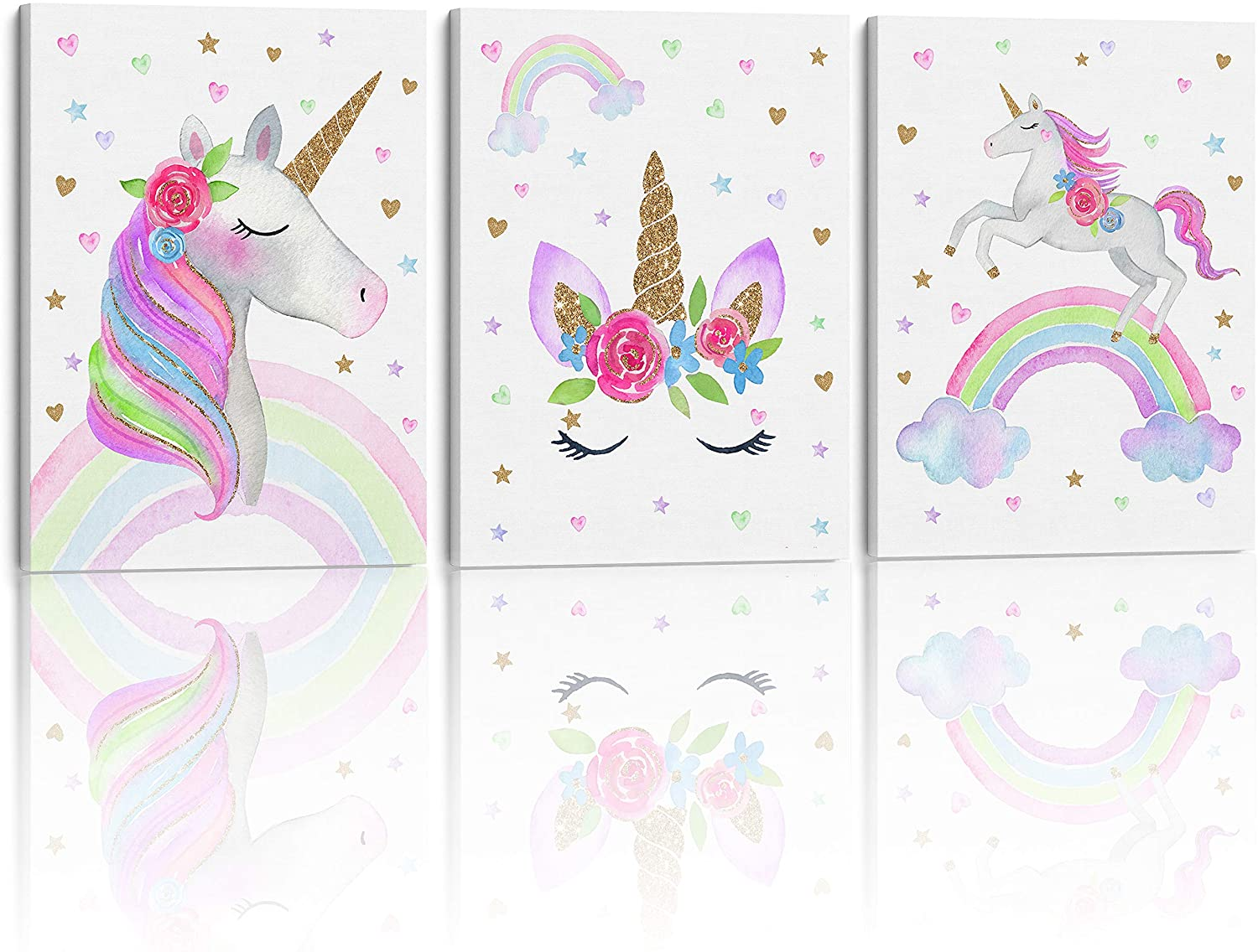 Something Unicorn - Stretched/Framed, Ready to Hang Canvas Wall Art. Super Cute Water Color Unicorn Prints for Nursery or Girl's Bedroom Decor. Set of 3. 12x16in - Gold Glitter Unicorn (Over The Rainbow Version)