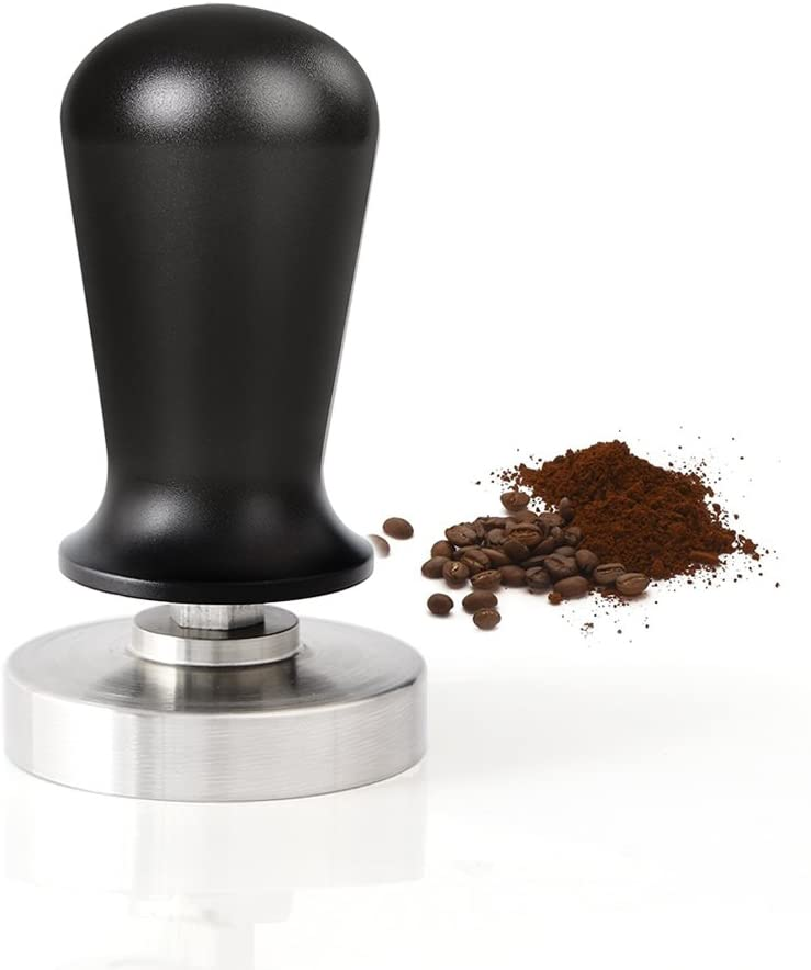 Calibrated Coffee Tamper 58mm with Flat Base and Aluminum Handle, 304 Stainless Steel Coffee Press Professional Espresso Coffee Tamper Machine(Black)