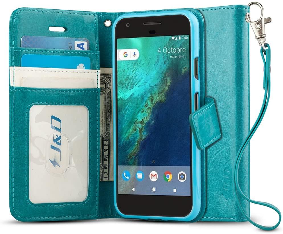 J&D Case Compatible for Google Pixel Case, [Wallet Stand] [Slim Fit] Shock Resistant Flip Cover Wallet Case for Google Pixel Wallet Case - [Not for Pixel XL/Pixel 2/Pixel 2 XL/Pixel 3/Pixel 3 XL]