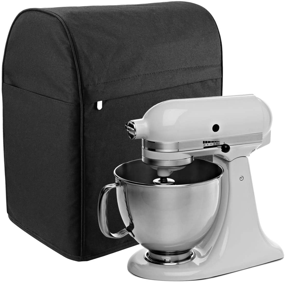 Stand Mixer Dust Cover, Mixer Dust&Fingerprint Protection Cover With Zipper & Open Pockets Mixer Protection Cover Kitchen Small Appliance Cover,Machine Washable(Black)