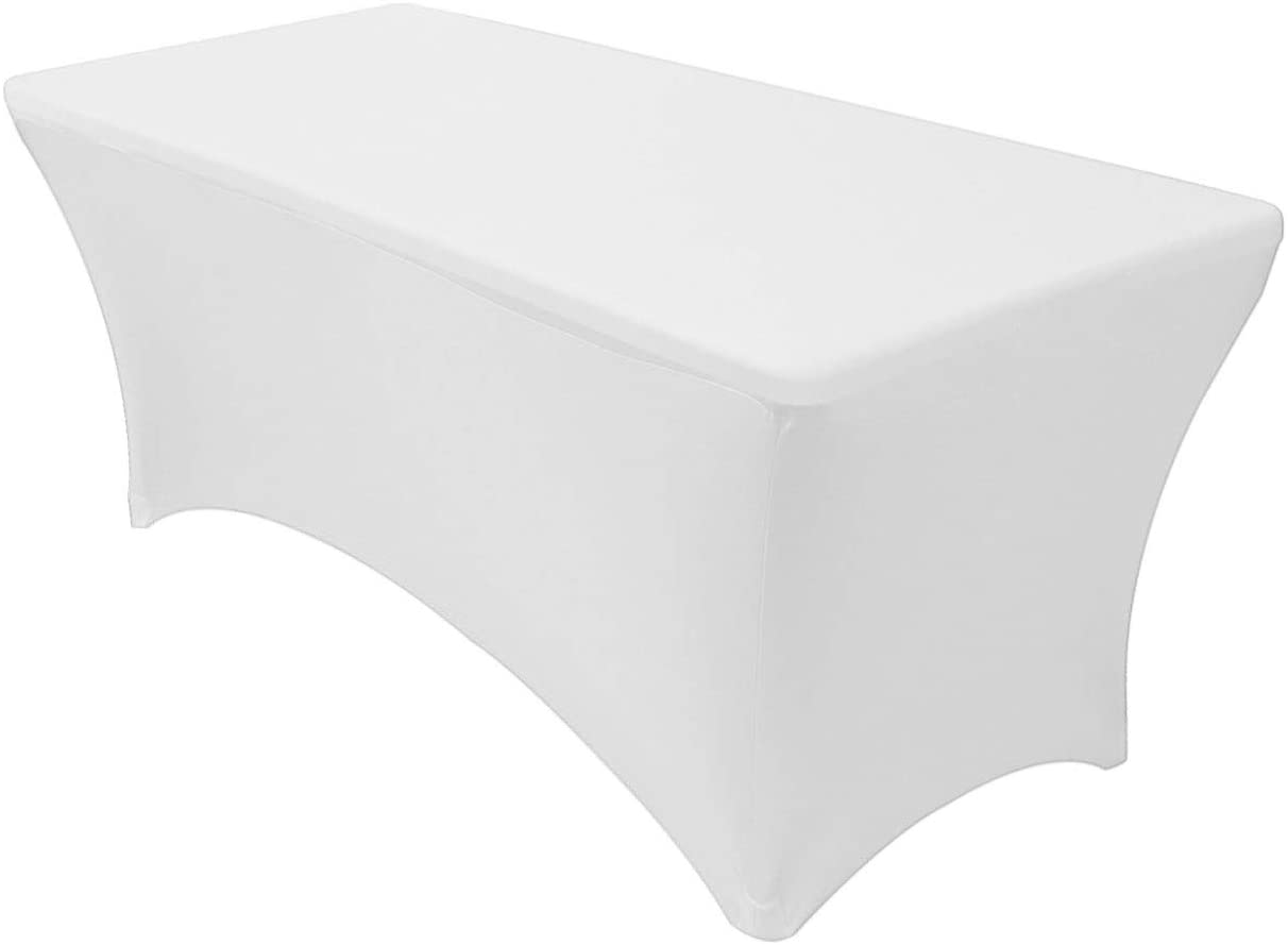 Your Chair Covers - 8 ft Rectangular Fitted Spandex Tablecloths Patio Table Cover Stretchable Tablecloth - White