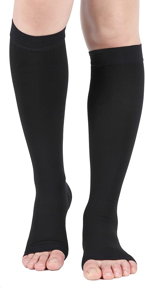 Compression Socks, Open Toe 20-30 mmHg Graduated Compression Stockings for Men Women, Knee High Compression Sleeves for DVT, Maternity, Pregnancy, Varicose Veins, Relief Shin Splints, Edema, Black S