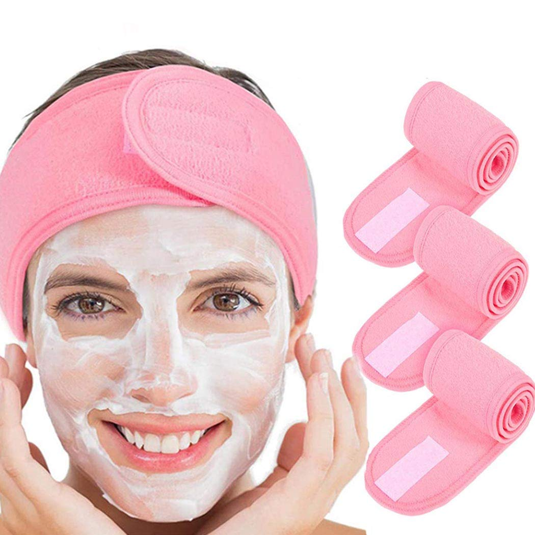 Avanlin Magic Tape Spa Headbands Pink Makeup Hair Bands Washing Face Spa Shower Sport Head Wraps for Girls and Women (Pack of 3)