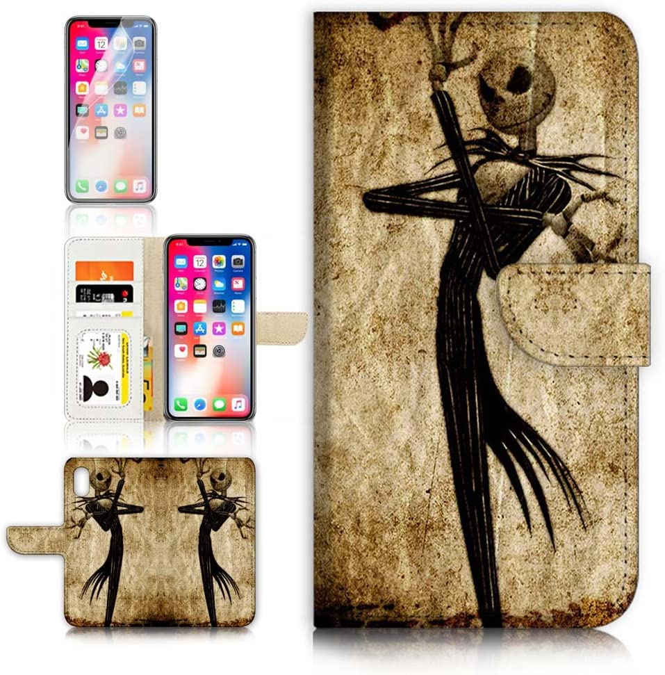 (for iPhone Xs, iPhone X) Flip Wallet Case Cover & Screen Protector Bundle! A1369 Nightmare Before Christmas