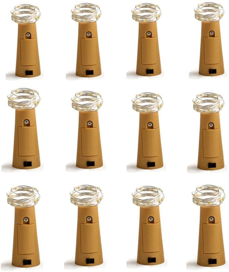 Dreamworth Set of 12 Wine Bottle Cork Lights - 39inch/1m 20 LED Silver Wire Lights String Starry LED Lights for Bottle DIY, Party, Decor, Christmas, Halloween, Wedding or Mood Lights(Multicolor)