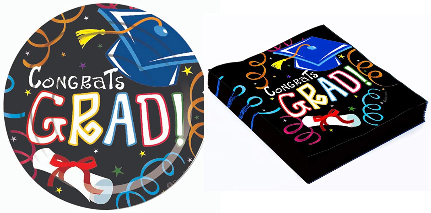 Graduation Themed Dessert Party Supplies - Bundle Includes Paper Plates and Napkins for 16 Guests