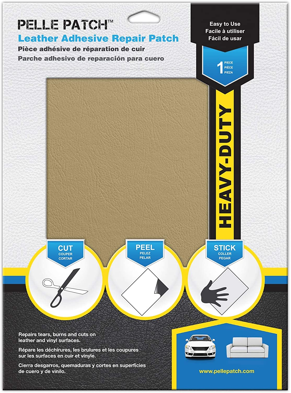 Pelle Patch - Leather & Vinyl Adhesive Repair Patch - 25 Colors Available - Heavy-Duty 8x11 - Light Yellow