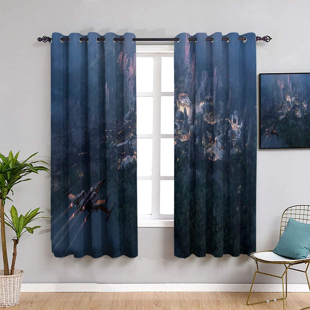 Kids Decor Patterned Curtains Star Wars The Rise of Skywalker for Kids Rooms Room Darkening Wide Curtains(W55 x L45)