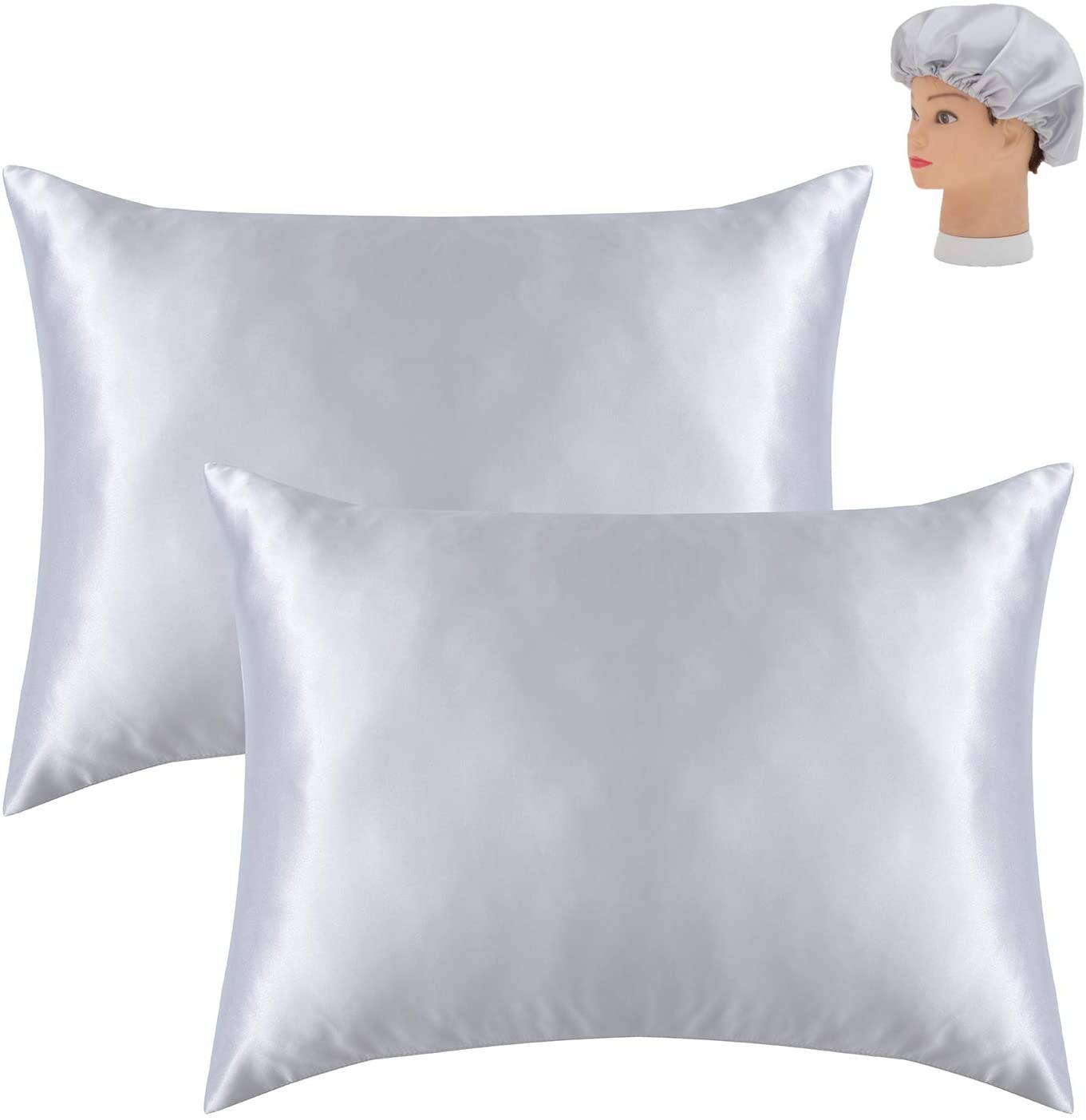 Kingria Satin Pillowcase King Size Zipper Free,2 Pack,Silver Grey,20x36 inches- Pillowcase for Hair and Skin-Satin Pillow Covers with Envelope Closure