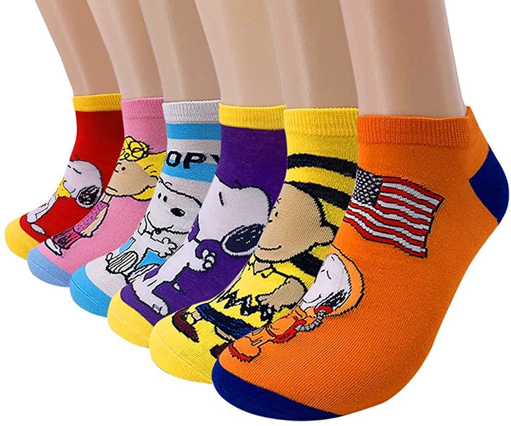 6 Pack Snoopy Peanuts No Show Socks