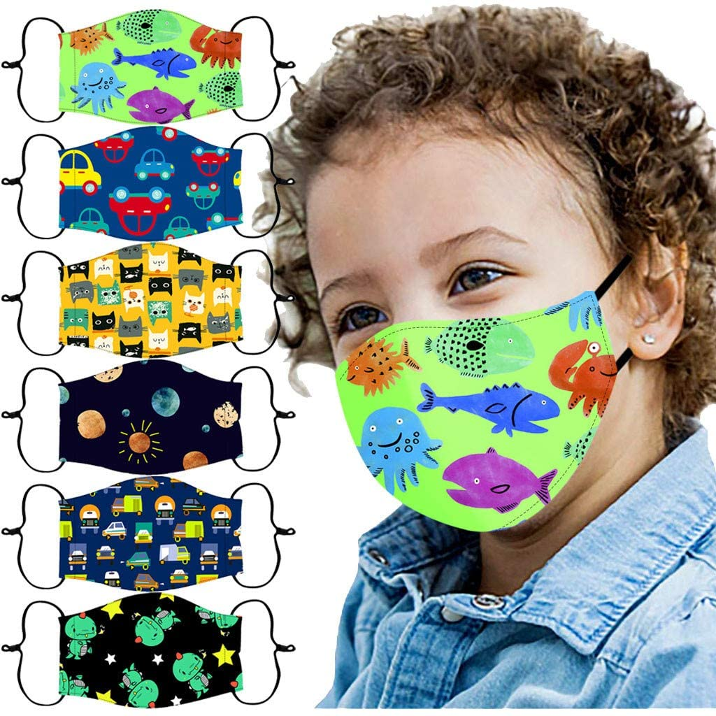 Gogoty Children Cute Cartoon Pattern Reusable Washable Face Scarf Bandanas Breathable for Kids Outdoor Back to School (6pcs)