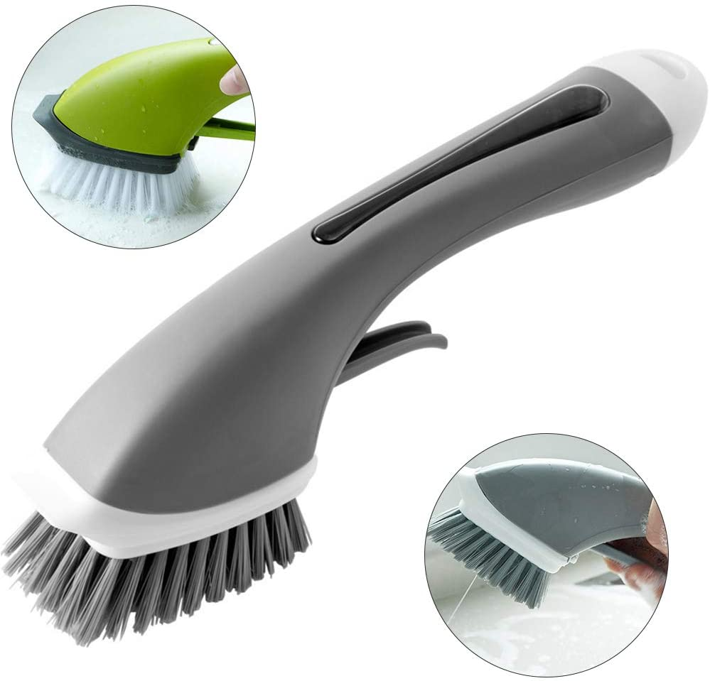 Cleaning Brush with Soap Dispenser Long Handle Kitchen Scrubber Pot Brush Dish Bowl Washing Grey