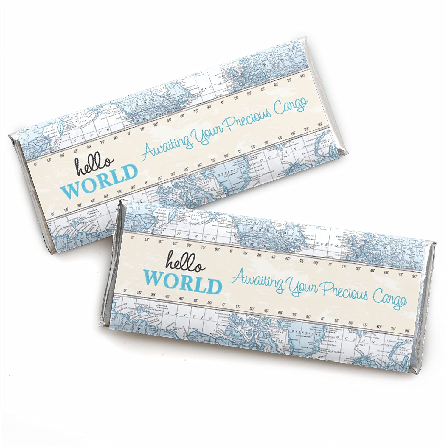 Precious Cargo - Blue - Candy Bar Wrappers Baby Shower Favors - Set of 24