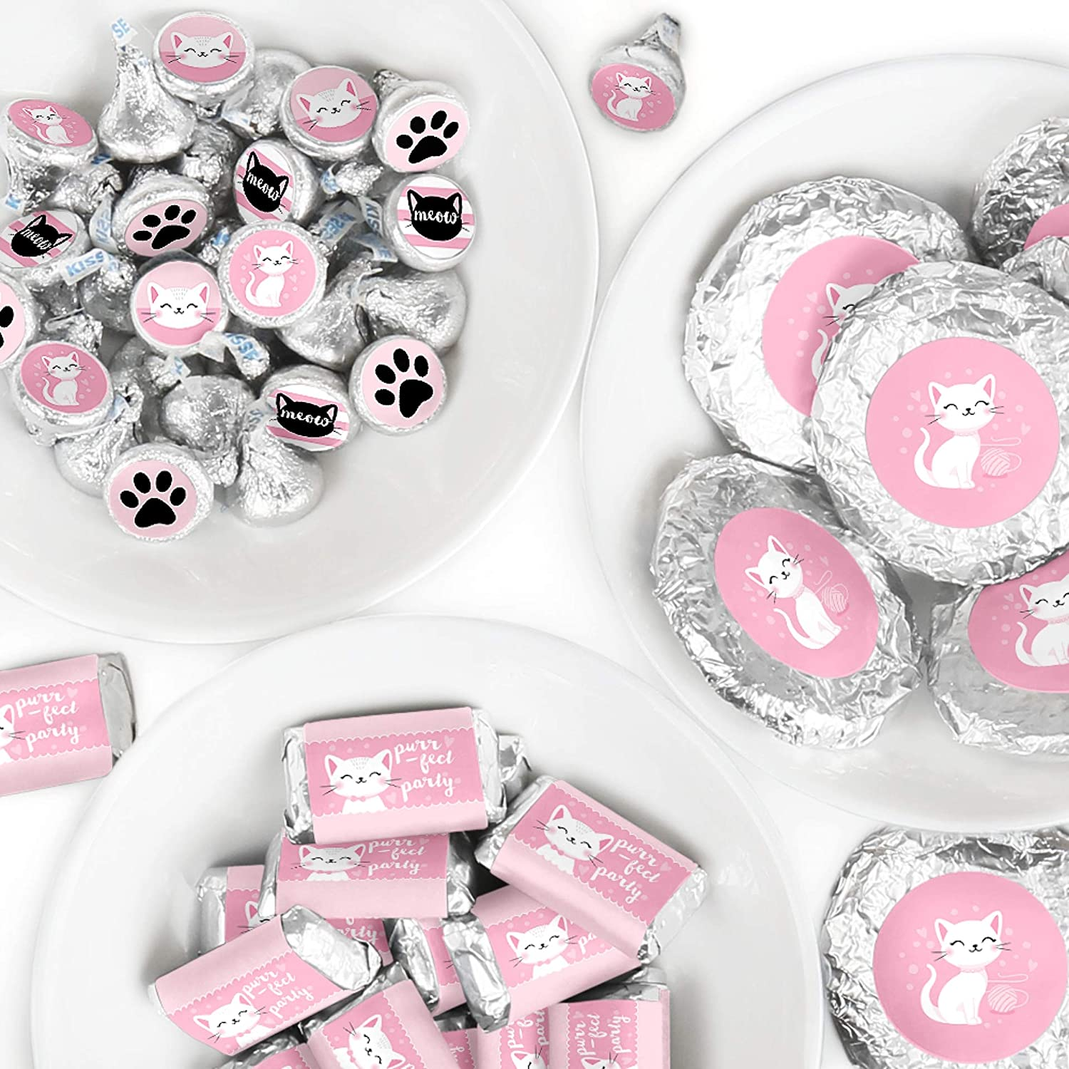 Big Dot of Happiness Purr-fect Kitty Cat - Mini Candy Bar Wrappers, Round Candy Stickers and Circle Stickers - Kitten Meow Baby Shower or Birthday Party Candy Favor Sticker Kit - 304 Pieces