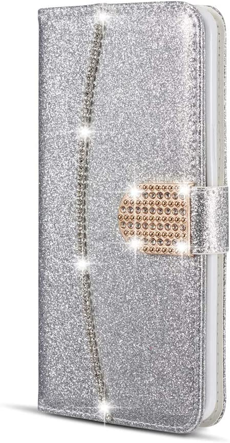 ZCDAYE Wallet Case for iPhone 11 Pro, Bling Luxury PU Leather [Magnetic Closure][Card Slots][Kickstand][Hand Strap] Diamond Buckle Soft TPU Protective Flip Cover for iPhone 11 Pro 5.8