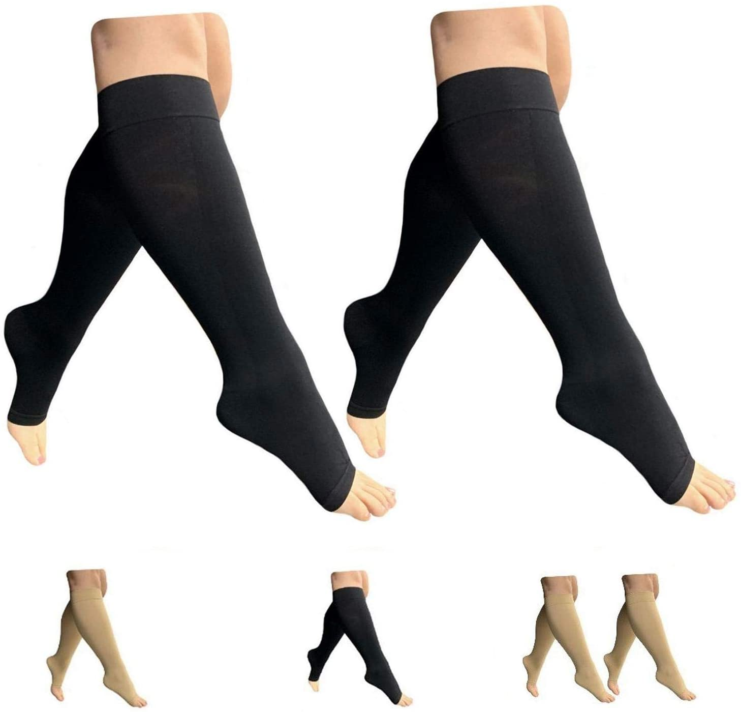 HealthyNees Open Toe 15-20 mmHg Compression Plus Size Extra Wide Calf Leg Socks (Black 2 Pairs, 4X-Large)