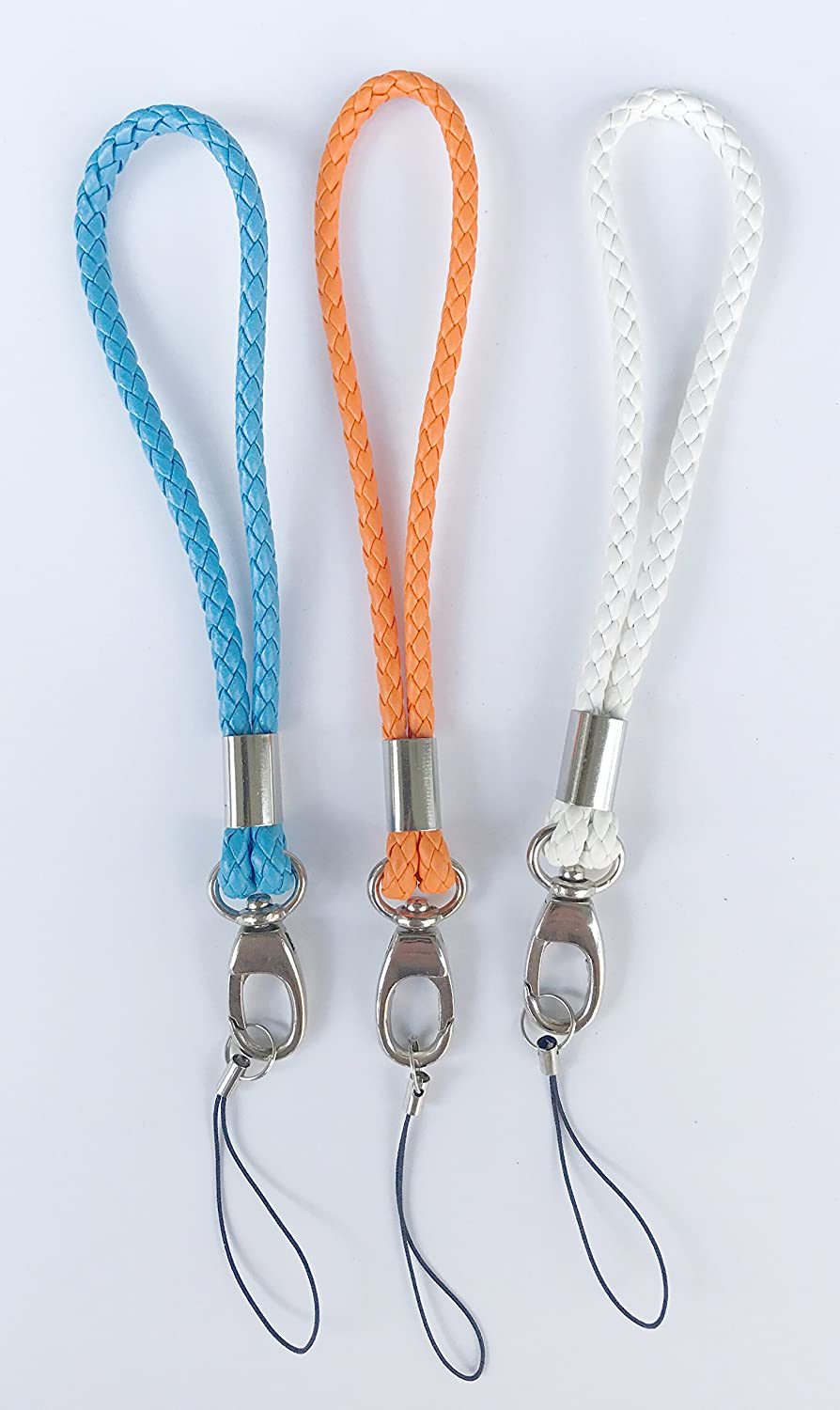Fashion PU Braided Hand Wrist Strap[3Pack] Leather Wrist Lanyard with J-Hook for Camera & Cell Phone & Purse& Keychain-Straps Around Your Wrist-Assorted Different Color (Blue/Orange/White)