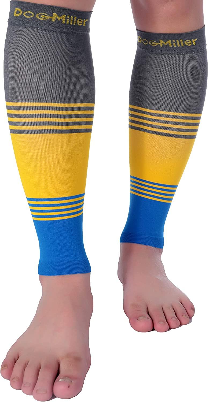 Doc Miller Premium Calf Compression Sleeve Dress Series 1 Pair 20-30mmHg Strong Calf Support Cute Toeless Socks Sports Running Recovery Shin Splints Varicose Veins (GrayYellowBlue, Large)