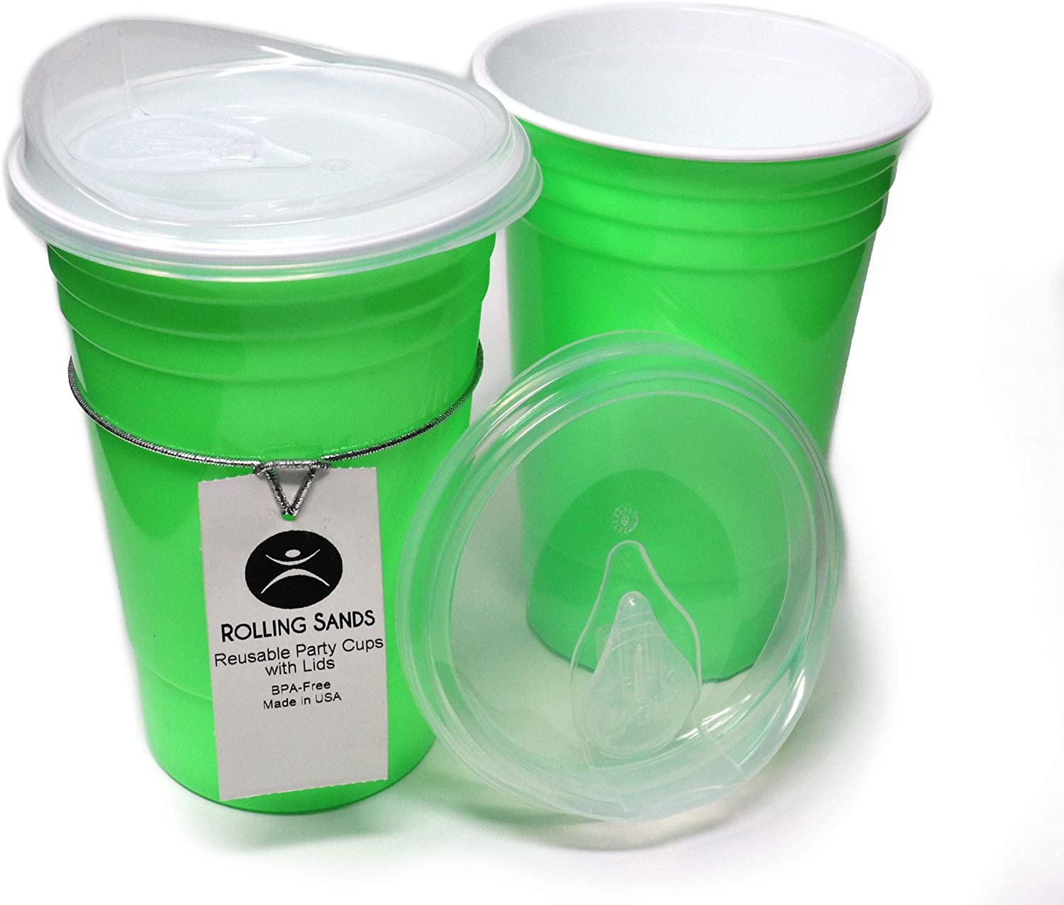 Rolling Sands Reusable BPA-Free 16 Ounce Neon Green Party Cups with Lids - 2 Pack, Made in USA