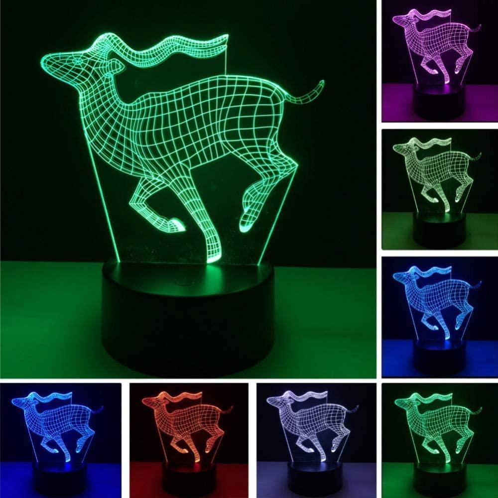 KLJLFJK Night Light 3D Running Deer Night Light 7 Color Gradient Illusion Table Lamps Bedroom Decor Kids Xmas Gifts