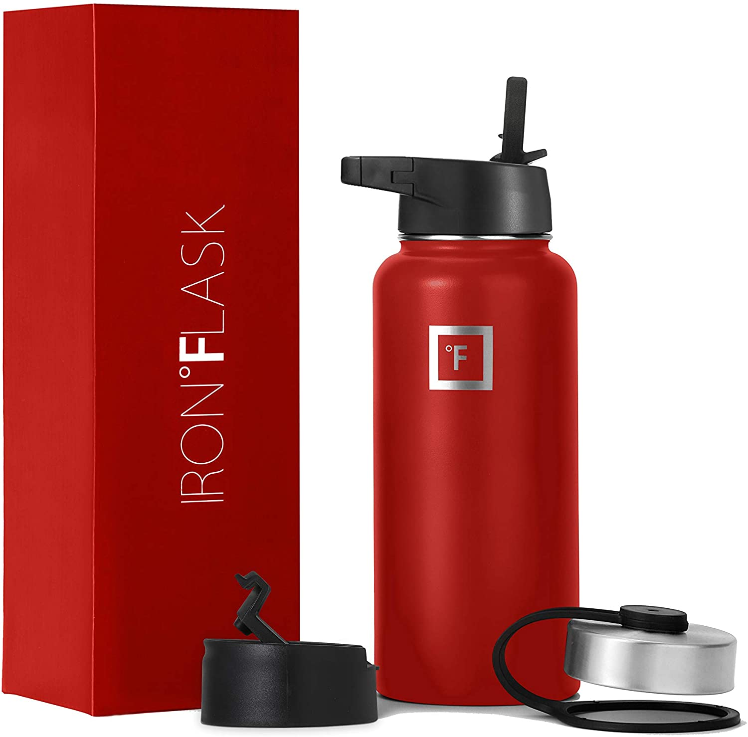 Iron Flask Sports Water Bottle - 14oz,18oz,22oz,32oz,40oz,64oz,3 Lids (Straw Lid),Vacuum Insulated Stainless Steel, Modern Double Walled, Simple Thermo Mug, Hydro Metal Canteen (32 Oz, Fire Red)