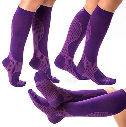 3 Pairs of Compression Socks for Women & Men Knee High Compression Socks - Relieve Calf & Leg Pain - Graduated to Boost Circulation & Reduce Edema Swelling, Nurse & Runner Recommended - (Purple, S)