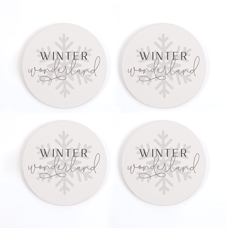 Winter Wonderland Snowflake 4 x 4 Absorbent Ceramic Holiday Coasters Pack of 4