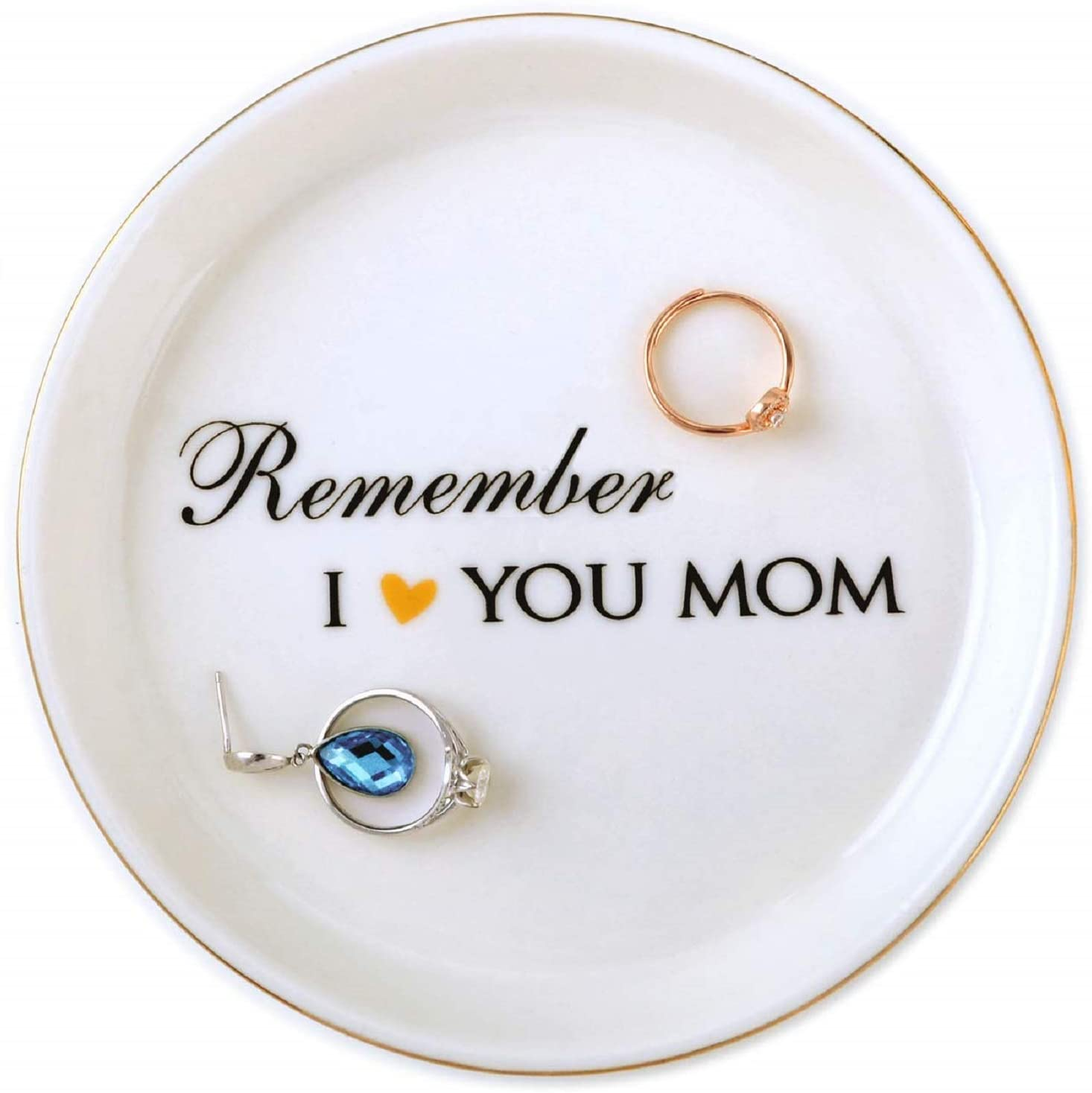 Mom Gifts Birthday Gifts Idea for Mom Mother in Law from Daughter Son Wife Bride, Remember I Love You Mom Ceramic Jewelry Tray Trinket Ring Dish Home Decor, Thanksgiving Christmas Mother Day Valentine