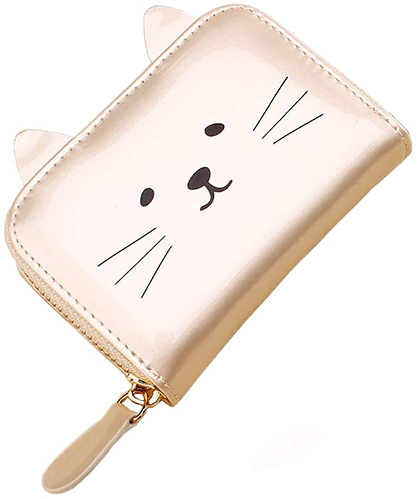 JIUFENG Women's Wallet RFID Blocking Cute Cat Printed Zipper Coin Purses Multi Purpose Card Holder Fashion Small Wallet