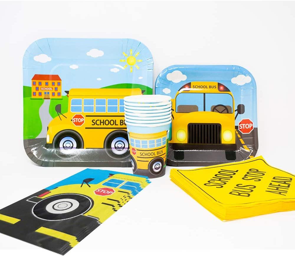 School Bus Deluxe Party Packs (70 Pieces for 16 Guests!), Kindergarten Party Supplies, School Bus Birthdays